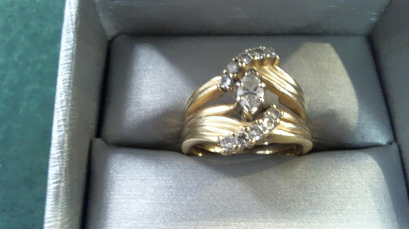 Lady's Diamond Wedding Set 11 Diamonds .70 Carat T.W. 14K Yellow Gold 8.6g