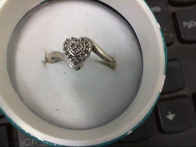Lady's Silver-Diamond Ring 15 Diamonds .15 Carat T.W. 925 Silver 2.8g