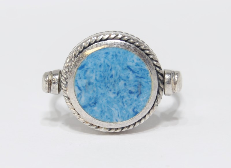 Sterling Silver Sky Blue Enamel Reversible Rope Detail Spinning Ring sz 8.75