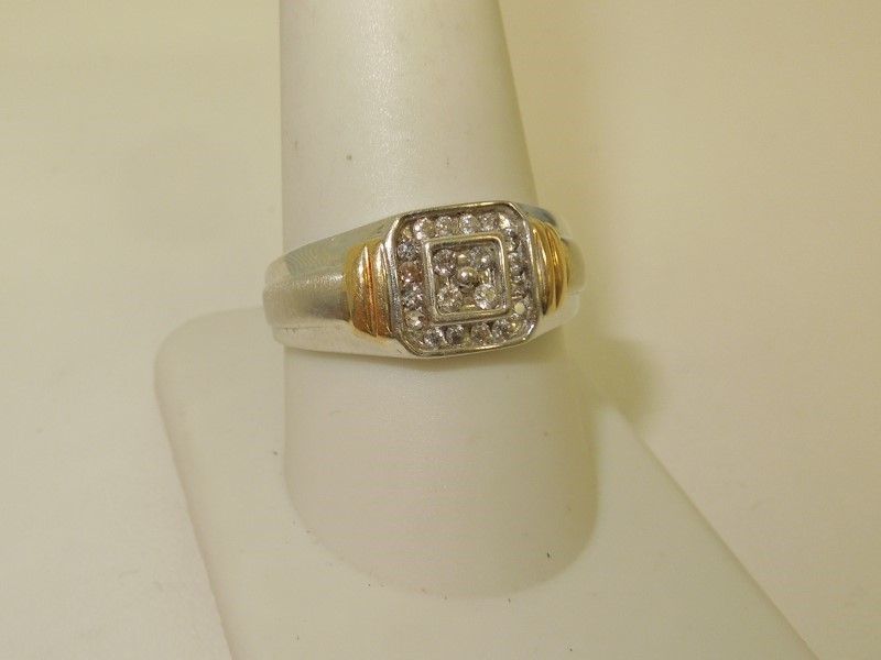 Gent's Diamond Fashion Ring 20 Diamonds .40 Carat T.W. 10K 2 Tone Gold 4.3g