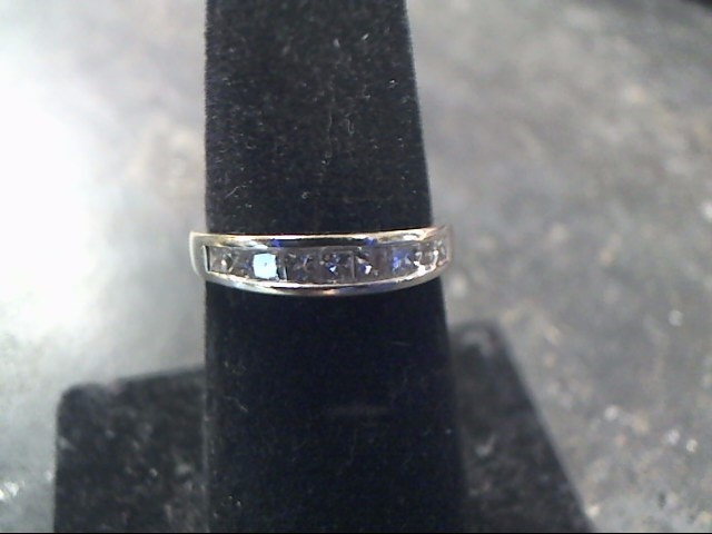 Lady's Diamond Wedding Band 9 Diamonds .90 Carat T.W. 14K White Gold 2dwt