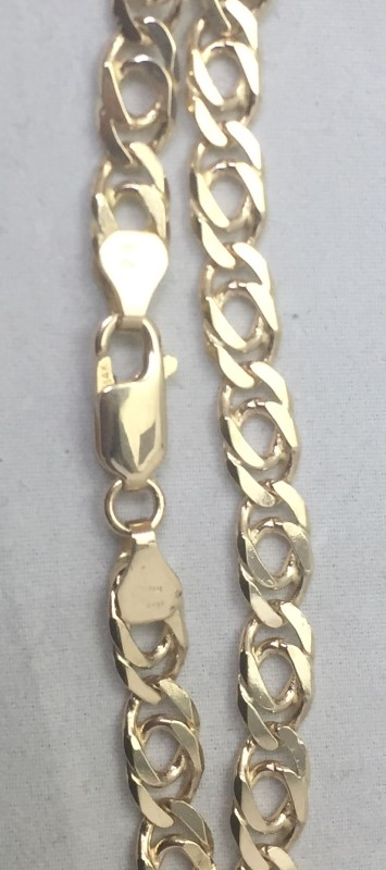 """24"""" Gold Double Curb Chain 14K Yellow Gold 18.5dwt"""