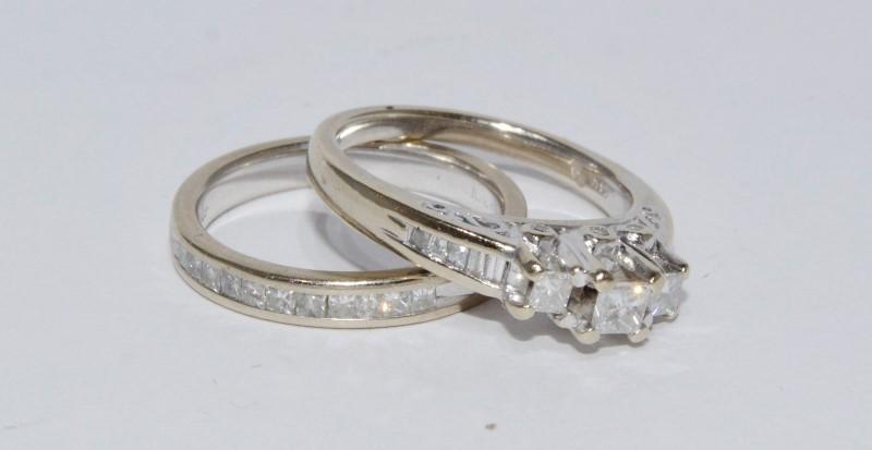 14K White Gold 3-Stone Princess Diamond Filigree Wedding Ring Set