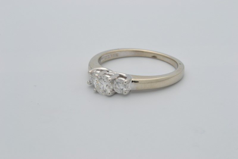 ESTATE 3 DIAMOND RING SOLID 14K WHITE GOLD & PLATINUM ENGAGEMENT 6.5