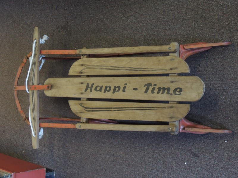 HAPPI TIME VINTAGE Wooden Snow Sled 47x22 Rail Sled Metal Wood