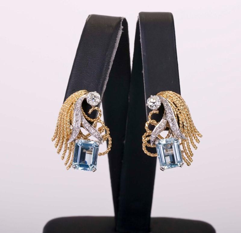 Diamond & Aquamarine Earrings 14KYG 26 Diamonds 1.09 CTW Clip-on