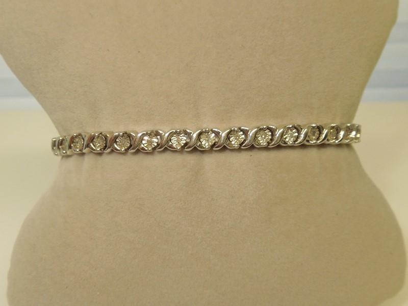 Silver-Diamond Bracelet 33 Diamonds .33 Carat T.W. 925 Silver 17.4g