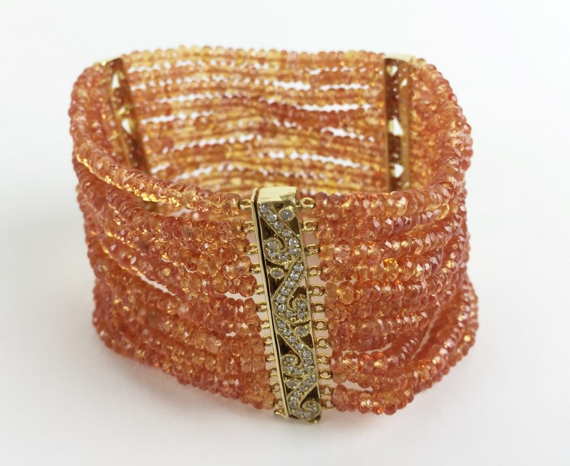 Citrine Gold-Diamond & Stone Bracelet 120 Diamonds 1.20 Carat T.W.