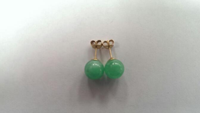 Jade Gold Earrings 14K Yellow Gold 2.1g