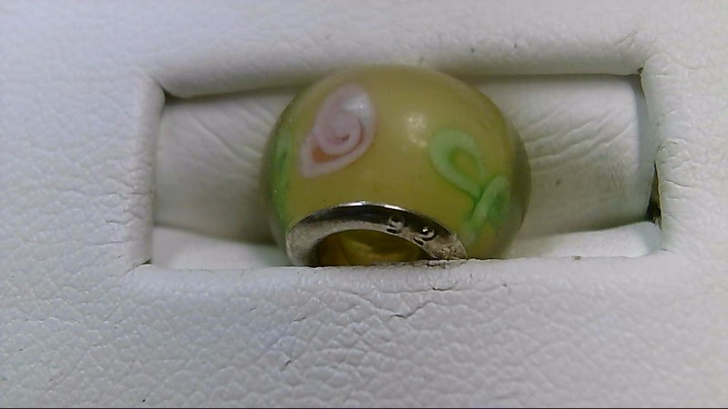 Yellow Green and Pink Glass Bead 925 Silver