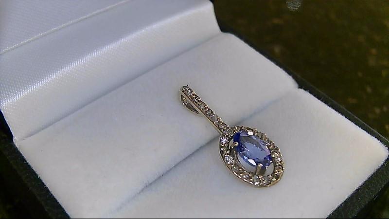 Oval Tanzanite & Diamond 10K White Gold Pendant