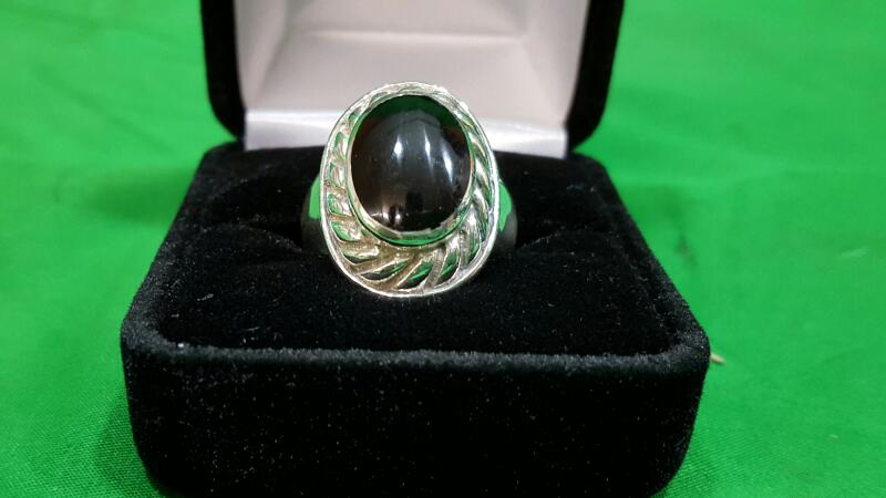 Black Stone Lady's Silver & Stone Ring 925 Silver 8.7g Size:8