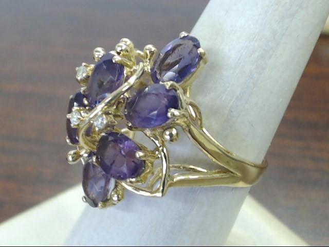 VINTAGE AMETHYST DIAMOND CLUSTER RING SOLID 14K GOLD FLORAL SZ 7.5
