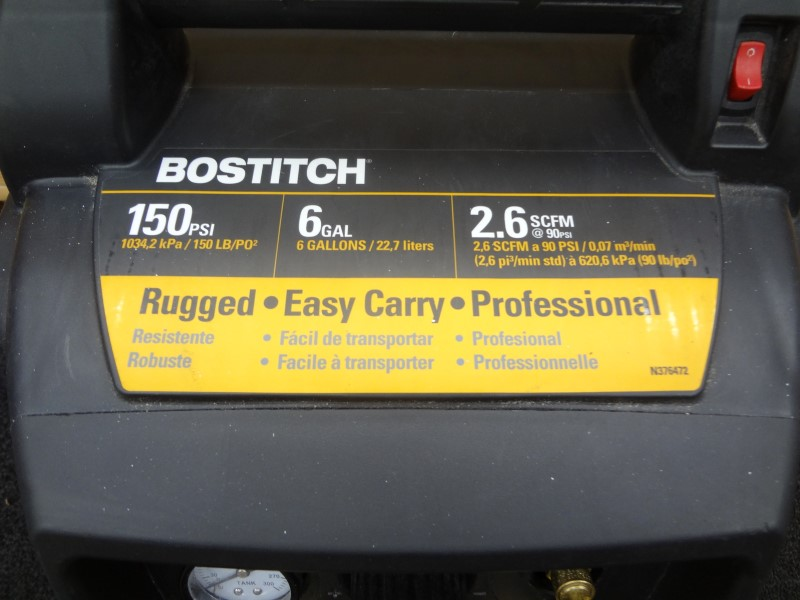 BOSTITCH BTFP02011 PRO GRADE 6 GALLON 150 PSI PANCAKE COMPRESSOR