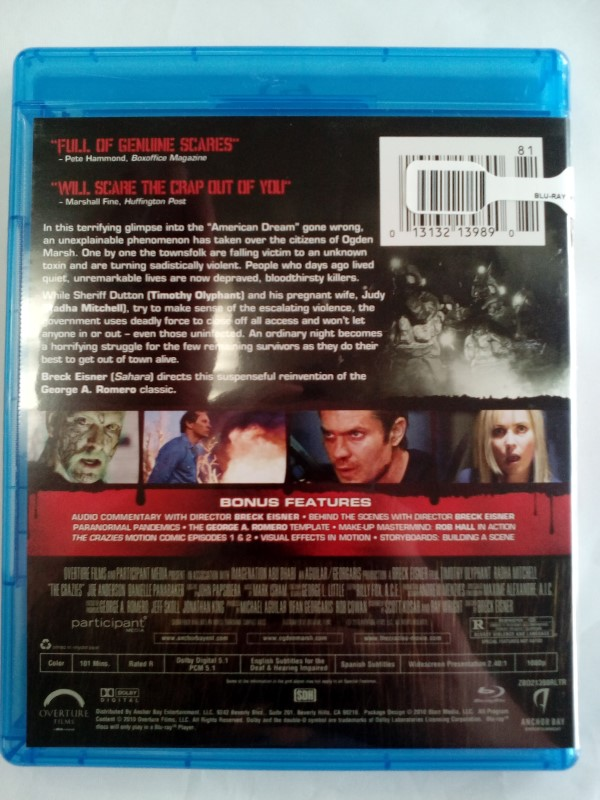 THE CRAZIES, HORROR BLU-RAY MOVIE, GOOD CONDITION