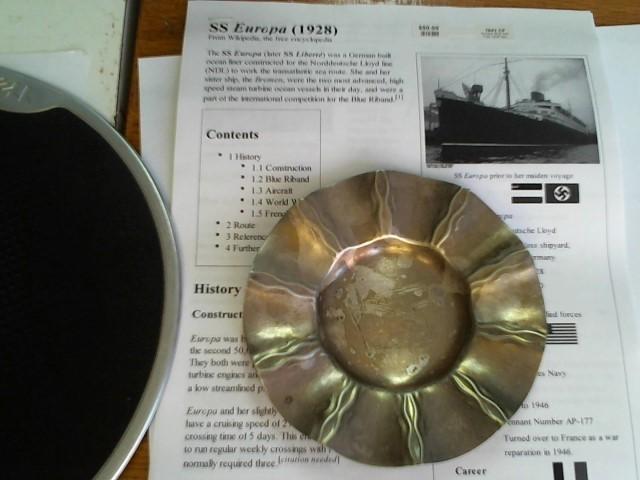 EUROPA SHIP ASH TRAY APX. 1929 SILVER PLANT ( KOCH & BERGFELD BREMEN )