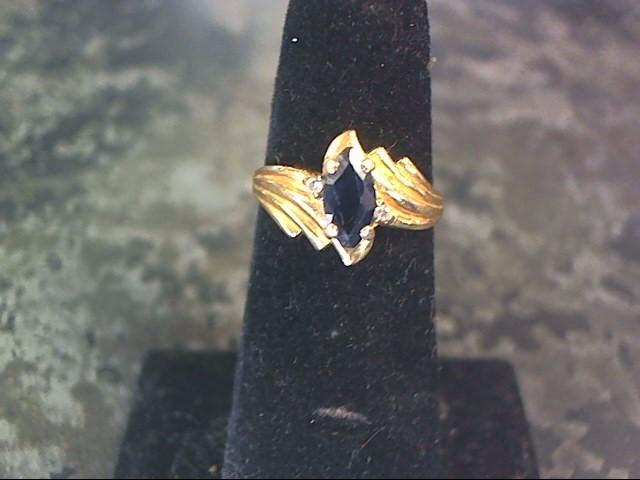 Synthetic Sapphire Lady's Stone & Diamond Ring 2 Diamonds .06 Carat T.W.