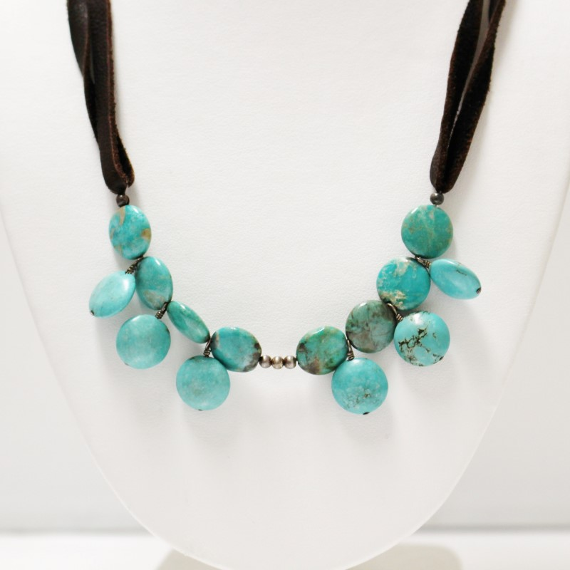 """Women's 18"""" Sterling Silver Turquoise Bead Cluster Necklace"""