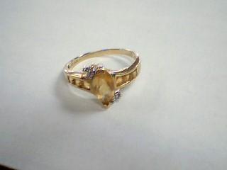 Yellow Stone Lady's Stone Ring 10K Yellow Gold 2.6g Size:8.5