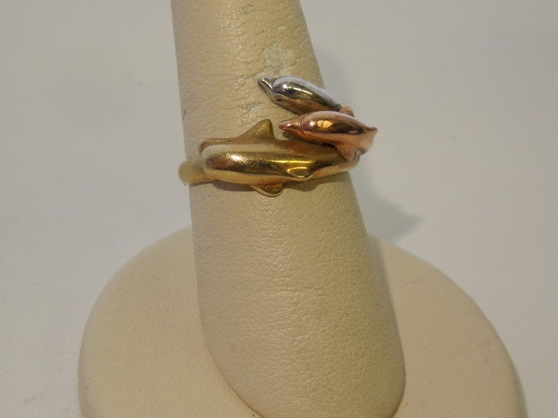 Lady's Gold Ring 10K Tri-color Gold 3.2g Size:7.5