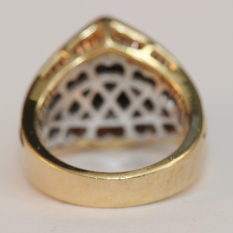 Vintage Inspired 14K Y/G Marquise & Multi Cut Diamond Ring Size 6.75
