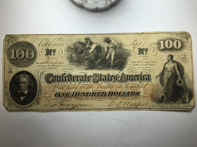 1862 $100 BILL CONFEDERATE STATES CURRENCY CIVIL WAR NOTE MONEY