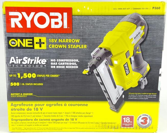 RYOBI Stapler 18v ONE+ 18g Cordless Narrow Crown Stapler P360