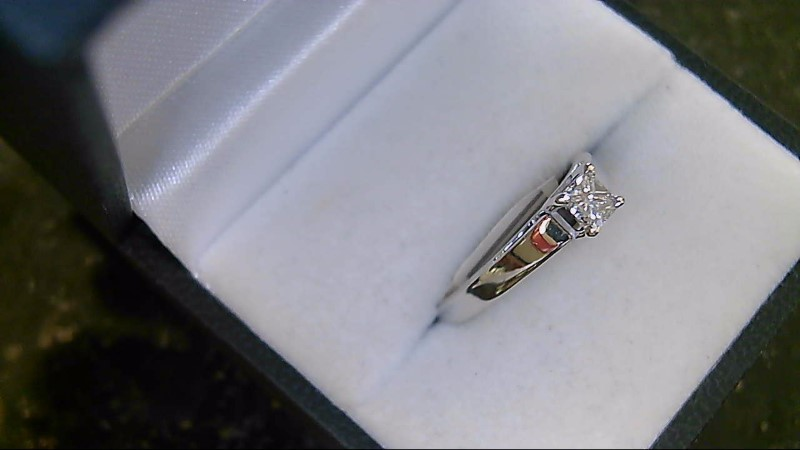 14K White Gold Princess Cut H SI2 Diamond Solitaire Engagement Ring