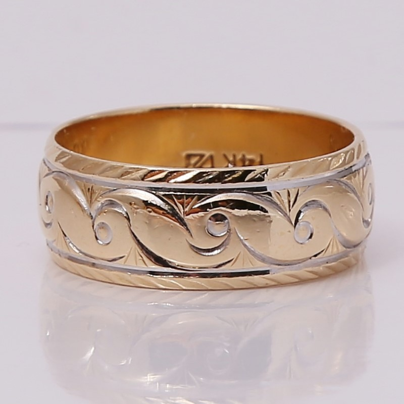 14K Yellow Gold Filligree Engraved Comfort Fit Wedding Band Size 9.5