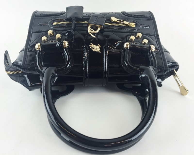 BURBERRY BLACK QUILTED PATENT LEATHER MINI MANOR BAG