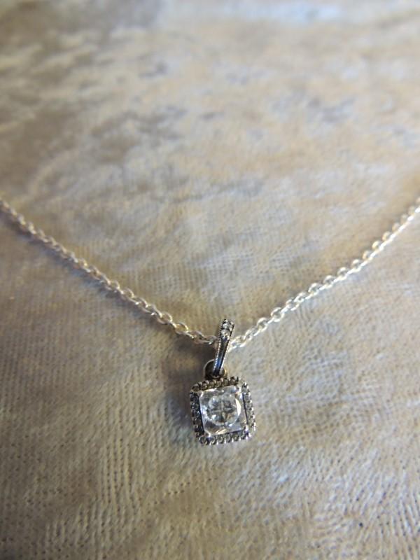 "Pandora Timeless Elegance Necklace and Clear CZ Pendant 925 ALE 60cm 24"" AUTHENT"