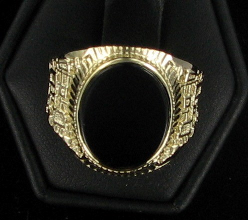 Black Stone Gent's Stone Ring 10K Yellow Gold 3.2dwt