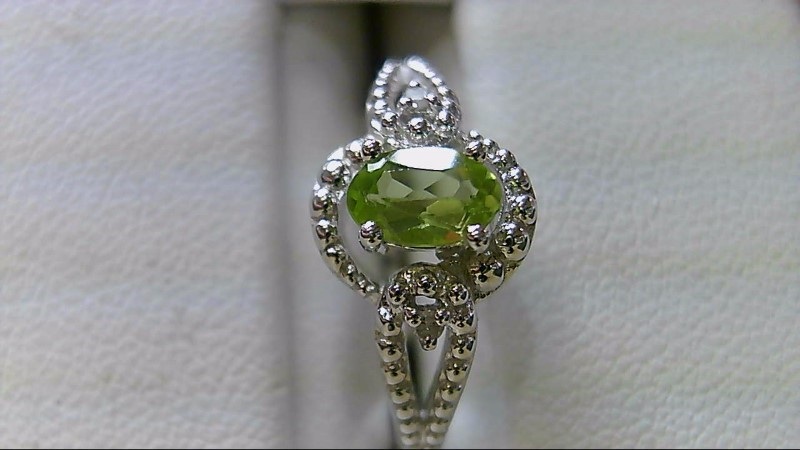 Peridot Lady's Silver-Diamond & Stone Ring 2 Diamonds .02 Carat T.W. 925 Silver