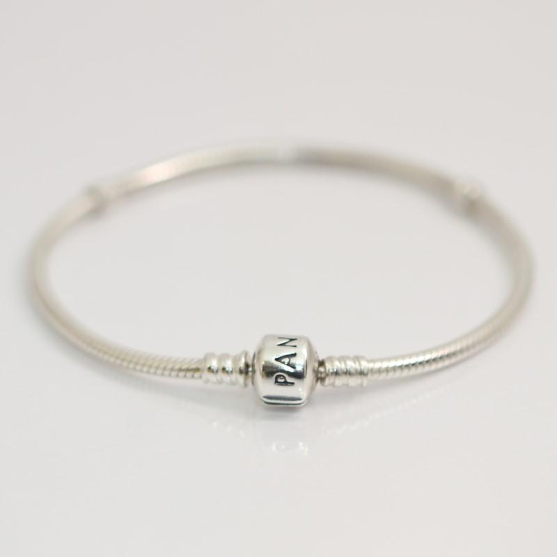 "7"" Pandora Sterling Silver 925 ALE Barrel Clasp Charm Bracelet 590702HV"
