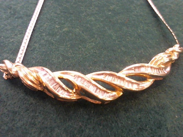 Diamond Necklace 47 Diamonds 3.29 Carat T.W. 10K Yellow Gold 8.7g