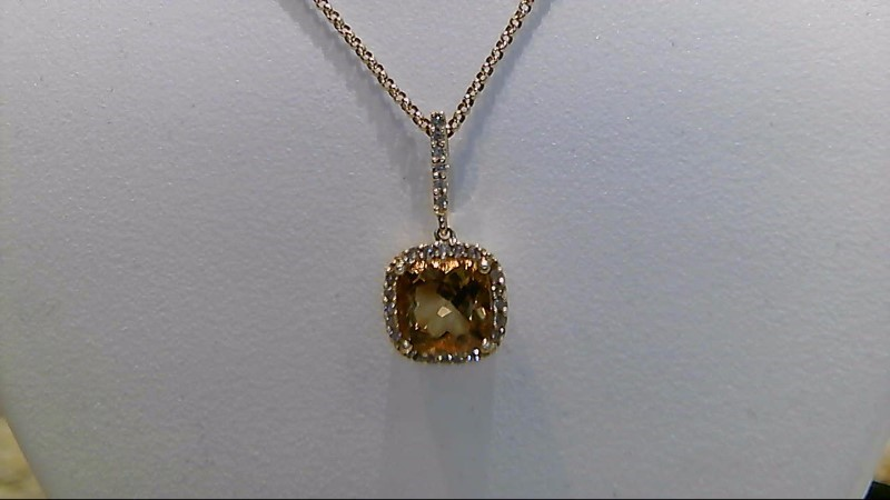 Lady's 14k yellow gold cushion cut citrine and round diamond 16inch necklace