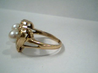 Synthetic Pearl Lady's Stone Ring 14K Yellow Gold 3.7g Size:6