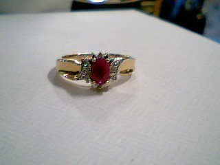 Synthetic Ruby Lady's Stone Ring 10K Yellow Gold 2.5g Size:7.3