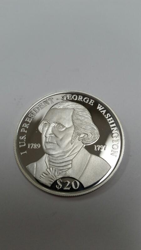 AMERICAN MINT REPUBLIC OF LIBERIA $20.00 SILVER COIN GEORGE WASHINGTON