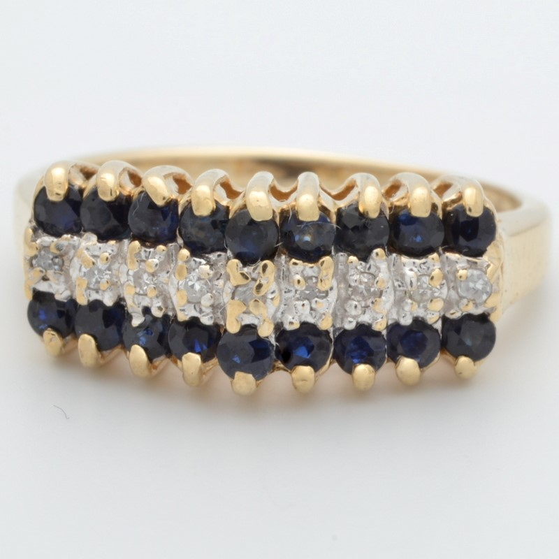 ESTATE DIAMOND SAPPHIRE BLUE RING BAND SOLID 10K GOLD CLUSTER 6.25