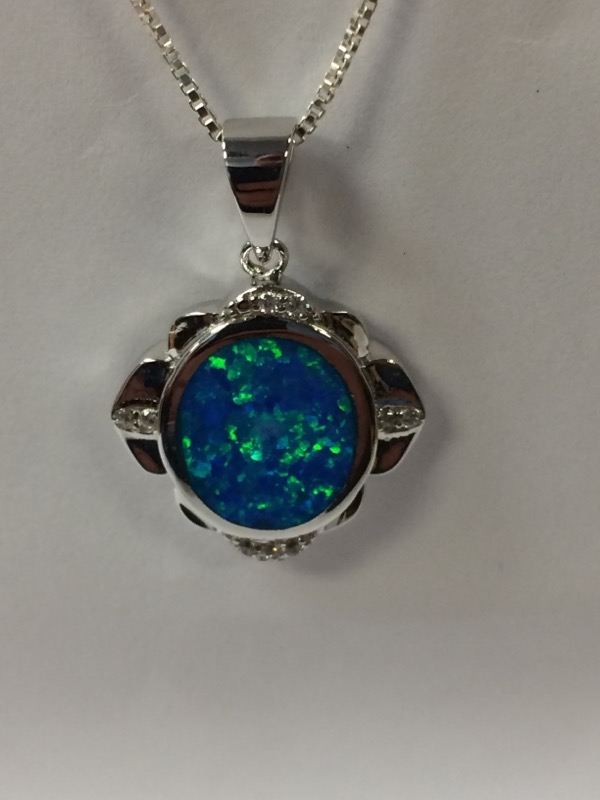 Synthetic Opal Silver-Stone Pendant 925 Silver 2.8g