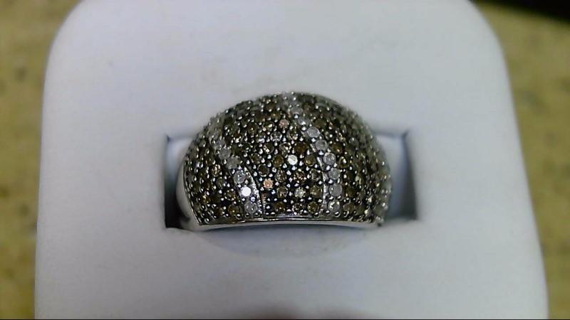 Lady's Silver-Diamond Ring 143 Diamonds 1.43 Carat T.W. 925 Silver 7.6g Size:7