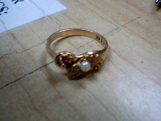 Synthetic Pearl Lady's Stone Ring 10K Yellow Gold 2.5g Size:7