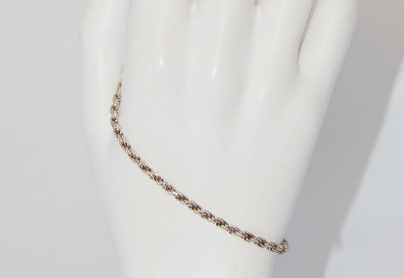 "7"" Sterling Silver Rope Link Chain Bracelet"
