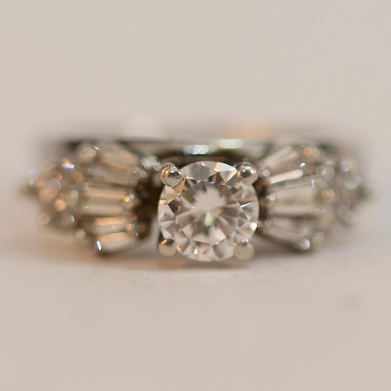 Vintage Inspired 14K White Gold Diamond Engagement Ring Size 5
