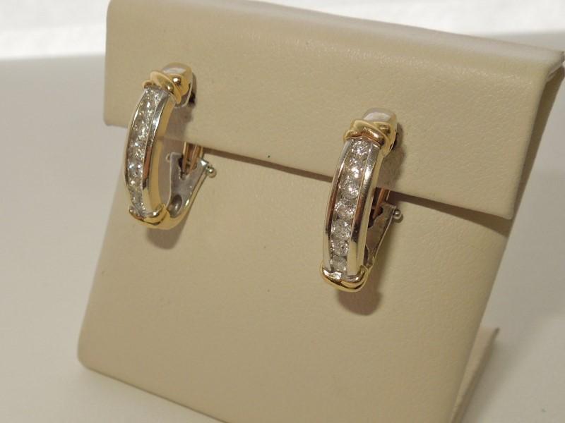 Gold-Diamond Earrings 14 Diamonds .42 Carat T.W. 14K 2 Tone Gold 5.4g