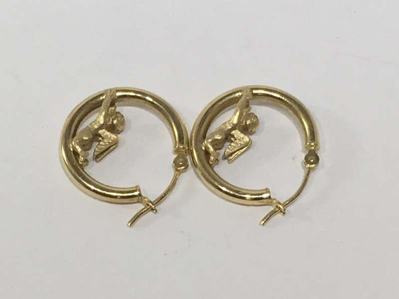 Gold Earrings 14K Yellow Gold 1g
