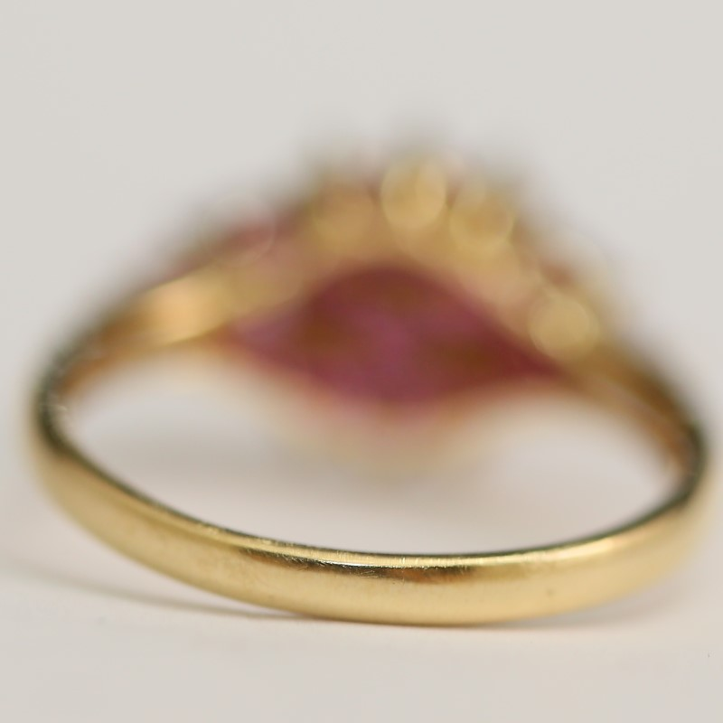 14K Yellow Gold Marquise & Round Cut Cluster Ruby RIng Size 8.25