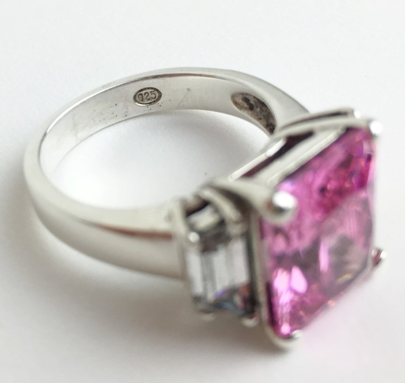 Pink Stone Lady's Silver & Stone Ring 925 Silver 7.41g Size:7