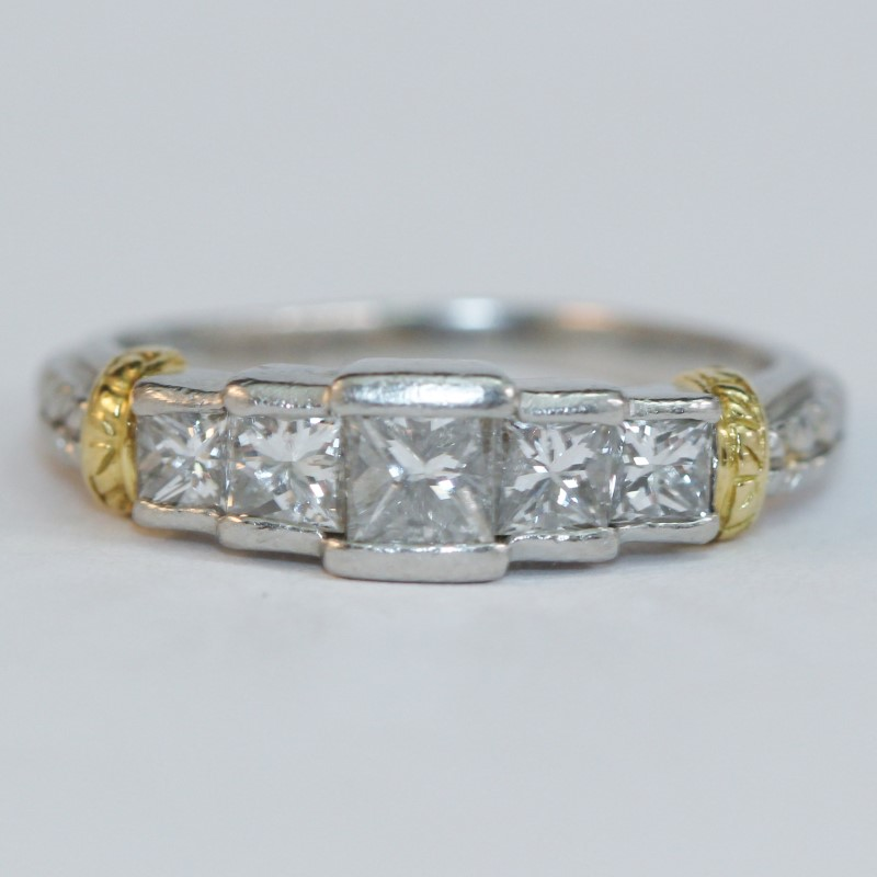 Platinum & 18K Yellow Gold Princess Cut Diamond Ring Size 6.25